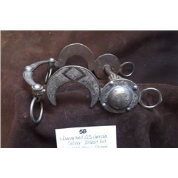 Unmarked GS Garcia Silver Inlaid Bit- Crescent Moon Shank- Polo- Large Concho