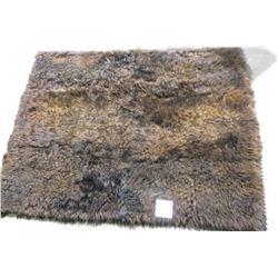 """Matted Buffalo Hide- Leak Fur MFG. Co.  69"""" X 56"""""""