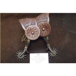 Mike Morales Silver Inlaid Spurs- Drop Shank- Straps