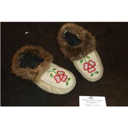 "Beaded Plains Indian Moccasins - Beaver Trim- 11""L X 8""W"