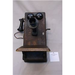 Solid Oak Crank Telephone Box- Complete
