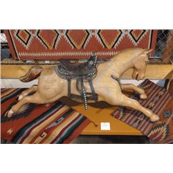"""1940's 10 cent Wood Carved Ride on Horse- Dotted Saddle- 68""""L X 27""""H"""