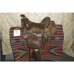 "JC Higgins Kids Saddle- 12"" Seat- Square Skirts- Carved- Tapaderos"