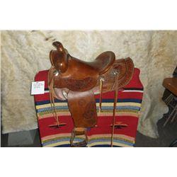 """Colorado Saddlery Denver Saddle- 13""""- Leaf Carved- New Sheepskin"""