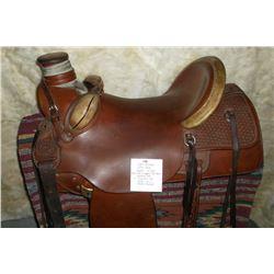 "John Seymour Dillon, MT. Saddle- 16"" Seat- Mule Hide Wrapped Post Horn- Bucking Rolls- 1"" Cheyenne R"