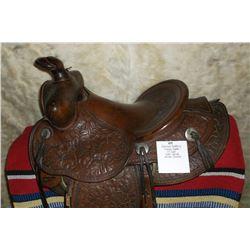 """Colorado Saddlery Denver Saddle- 14"""" Seat- Leaf Carved- Nickel Conchos"""