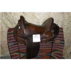 "Bona Allen Saddle- 15"" Seat- Basket Stamped- Nickel Conchos"