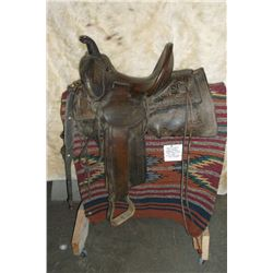"Miles City Saddlery Co.- Miles City, MT. Original Cogshall #88 Saddle- 13"" Seat- Tooled- Square Skir"