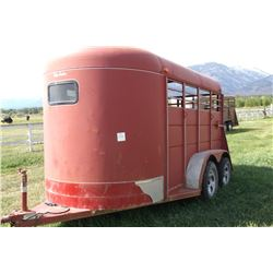Calico 2 Horse Trailer- Mats- Good Floor- Trim on Front Has Been Repaired- Minor Damage on Driver's