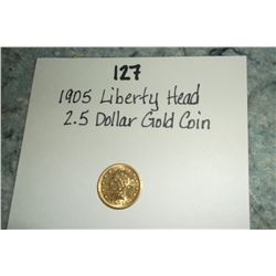 1905 Liberty Head 2.5 Dollar Gold Coin