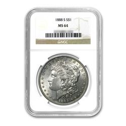 1888-S $1 Morgan Silver Dollar NGC MS64