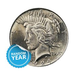 Common Date $1 Peace Silver Dollar AU/UNC