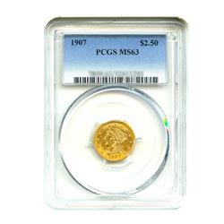 1907 $2.50 Liberty GOLD Quarter Eagle PCGS MS63