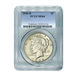 1926-D $1 Peace Silver Dollar - PCGS MS64