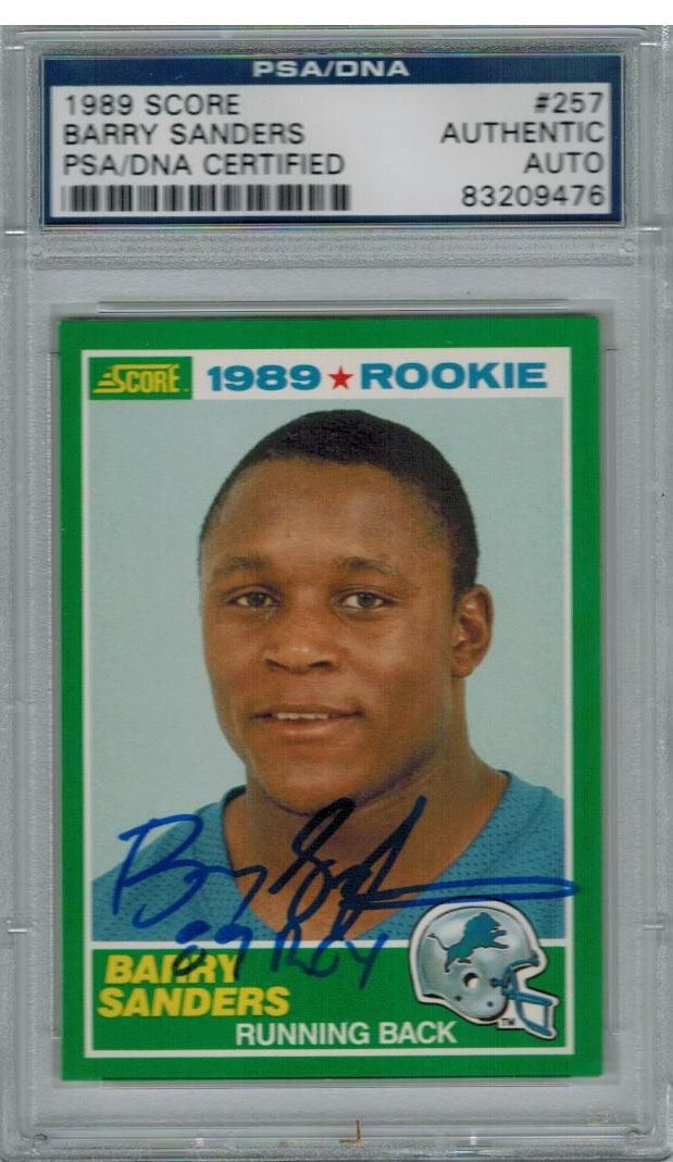 Barry Sanders Signed Lions 1989 Score Rookie Card 257 W89