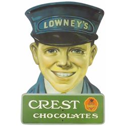 Lowney's Crest Chocolates Die Cut Tin Sign