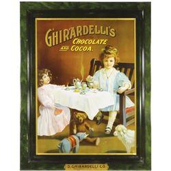 Rare 1905 D. Ghirardelli Co. Self Framed Tin Sign