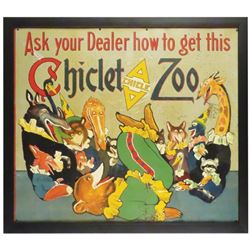 Extremely Rare Tin Litho Gum Zoo Sign