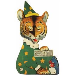 Die Cut Tin sign for Beeman's Pepsin, #12 Tiger