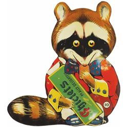 Die Cut Tin sign for Chicklet's Gum, #10 Racoon