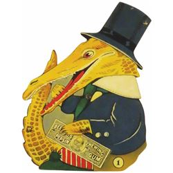 Die Cut Tin sign for Beeman's Gum, #1 Alligator