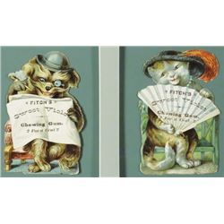 Two Fitch's  Die Cut Cardboard Trade Cards