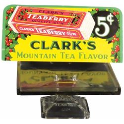 Clarke's Teaberry Gum Tray and Cardboard Sign
