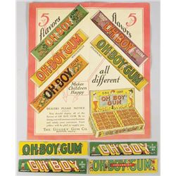 Oh Boy Gum Promotional Brochure and Wrappers