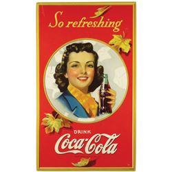 1941 Coca Cola Autumn Girl Cardboard Sign