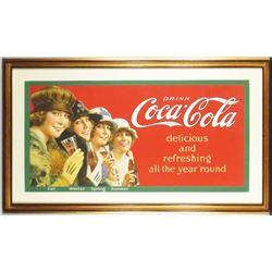 "1923 Coca Cola ""Four Seasons"" Trolley Car Sign"