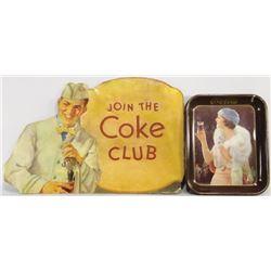 1920's Coca Cola Die Cut Cardboard Sign & Tin Tray