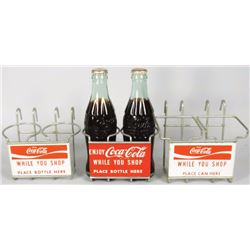 Three Coca Cola Grocery Cart Bottle Holders