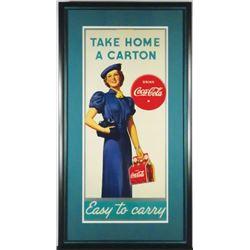 1937 Coca Cola Cardboard Sign, Red Carton