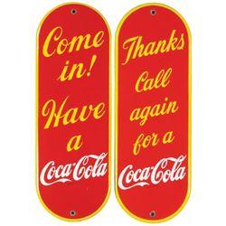 Two 1930's Coca Cola Porcelain Door Pushes