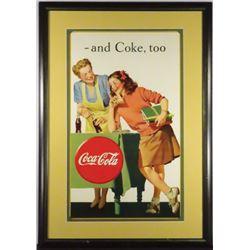 1940's Coca Cola Cardboard Sign