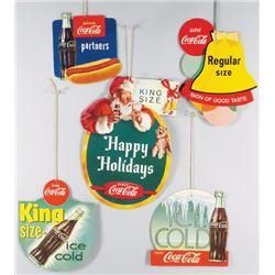 Five Coca Cola Die Cut Cardboard Fan Pulls