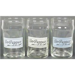 Three Dr. Pepper Etched Fountain Glasses