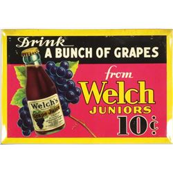 Welch's Grape Juice Tin Over Cardboard Sign