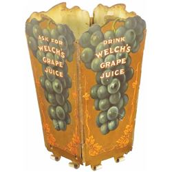 Rare Welch's Grape Juice Tin Litho Straw Holder