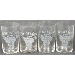 Four Welch's Grape  Juice Etched Fountain Glasses