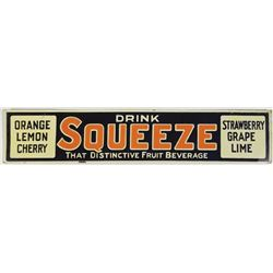 Squeeze Fruit Beverage Embossed Tin Sign