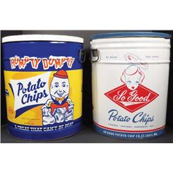 Two 3 Lb. Potato Chip Tins