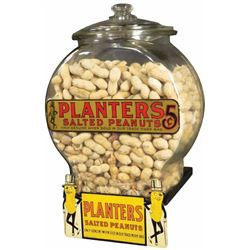 Planter's Peanut Store Display Jar and Shelf Sign