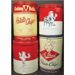 Four 1 Lb. Potato Chip Tins