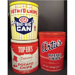 Three 1 1/2 Lb. Potato Chip Tins