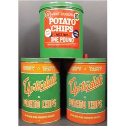 Three 1 Lb. Potato Chip Tins