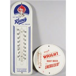 Two Embossed Tin Advertising Thermometers
