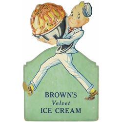 Brown's Velvet Ice Cream Die Cut Cardboard Sign