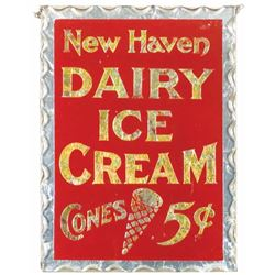 New Haven Dairy Ice Cream Glass Sign