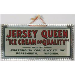 Jersey Queen Ice Cream Fluted Tin Sign
